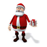 Santa with small present. 3d rendering/illustration of a cartoon santa holding a small present in his hand Royalty Free Stock Photography
