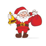 Santa smiles and steps forward. Santa Claus goes with a bag and a bell Royalty Free Stock Photo