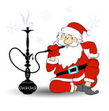 Santa smokes a hookah Royalty Free Stock Photo