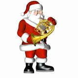 Santa - Smooth Jazz 5. Santa playing a French Horn.  Isolated on a white background Stock Images