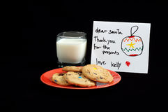 Santa Snack. Cookies and milk left by a child for Santa Clause Royalty Free Stock Photo