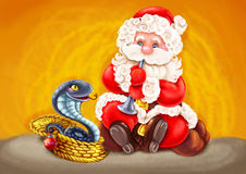 Santa - Snake charmer. Stock Photos