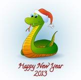 Santa snake, vector. Cartoon snake wearing Santa Claus's hat Vector Illustration