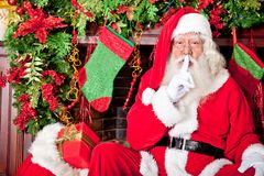 Santa sneaking in Stock Photography