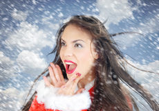 Santa in snow Royalty Free Stock Photography