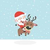 Santa in snow. royalty free illustration