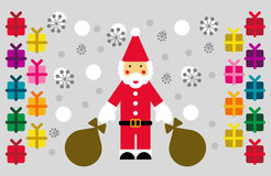 Santa, snow and gifts Royalty Free Stock Photography