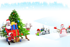 Santa and snow man with many gifts on iceland Royalty Free Stock Images