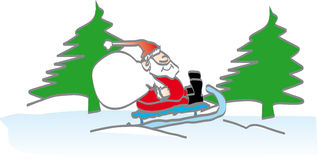 Santa on a snow sledge Stock Photo