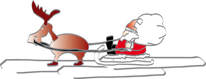 Santa on a snow sledge. With reindeer stock illustration