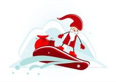 Santa on snowboard. Santa with gift on snowboard Stock Photo