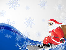 Santa on snowboard Stock Images