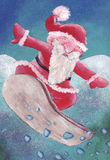 santa snowboarding Royaltyfri Fotografi