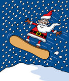 Santa Snowboarding Stock Photo