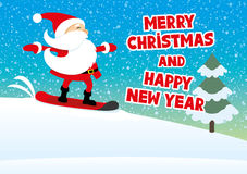 Santa snowboarding and greetings Stock Images