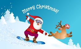 Santa snowboarding with Reindeer Royalty Free Stock Image
