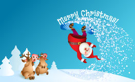 Santa snowboarding with Reindeer. Santa snowboarding. Merry Christmas card with snow landscape. Vector illustration for your design. Old man cartoon and reindeer Royalty Free Stock Photos