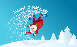 Santa snowboarding with Reindeer Royalty Free Stock Images