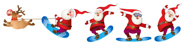 Santa snowboarding with Reindeer Stock Images