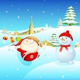 Santa and Snowman Stock Photo