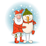 Santa and snowman. Stock Photo