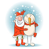 Santa and snowman. Royalty Free Stock Images