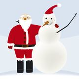 Santa and snowman. Portrait of Santa Claus and a snowman vector illustration
