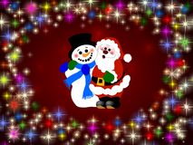 Santa and Snowman  Stock Images