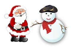 Santa and the Snowman. Cute Santa and the snow man on the white background Royalty Free Stock Images