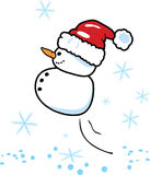 Santa snowman. Vector illustration of an snowman santa in a hurry Stock Image
