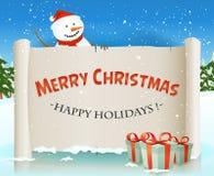 Santa Snowman Behind Christmas Parchment Backgroun Foto de archivo