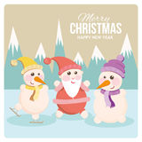 Santa and snowman on a cheerful holiday card Stock Photography