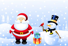 Santa,Snowman & Christmas bird Stock Photo