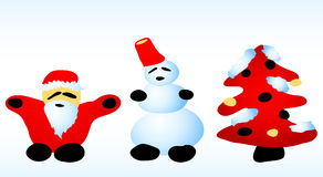 Santa, snowman, christmas tree Stock Photo