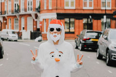 Santa and snowman costume Royalty Free Stock Photos