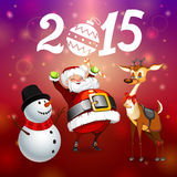 Santa snowman and deer. Funny new year background Santa snowman and deer Stock Photos