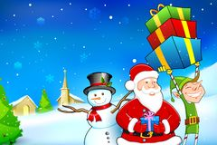 Santa with Snowman and Elf Royalty Free Stock Image