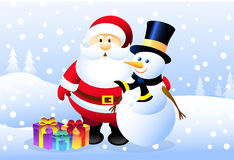Santa & Snowman Stock Photography