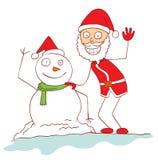 Santa and snowman Stock Image