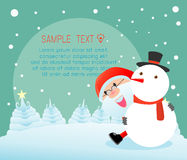 Santa and snowman,Merry Christmas, Happy new year, Merry Christmas design with wide copy space, Santa Claus. Card, background card greeting, Vector Illustration Stock Image