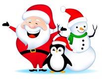 Santa snowman and penguin Royalty Free Stock Image