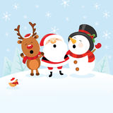 Santa With Snowman and Reindeer Stock Images