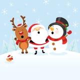 Santa With Snowman and Reindeer. Cute santa celebrating christmas with snowman and reindeer Stock Images