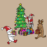 Santa Snowman reindeer decorate Christmas tree Stock Photography