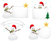 Santa Snowman with Sign Royalty Free Stock Images