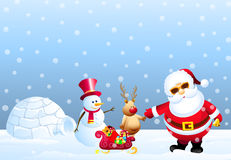 Santa,Snowman,Snow Deer & Igloo Stock Photos