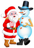 Santa and Snowman Talking Royalty Free Stock Image