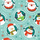 Santa, snowmen and penguins on blue background. . royalty free illustration