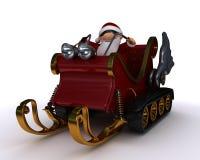 Santa in a snowmobile sleigh Royalty Free Stock Photos