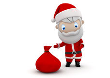 Santa! Social 3D characters. Santa with gift bag Christmas and New Year concept. New constantly growing collection of expressive unique multiuse people images Royalty Free Stock Images